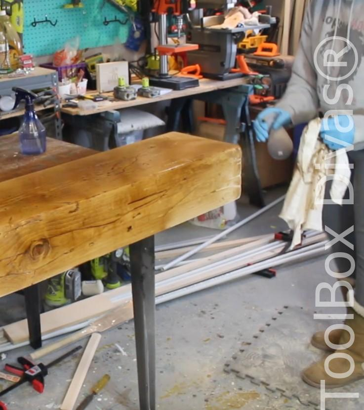 How to build a Rustic Faux wood beam mantel or floating shelf - Toolbox Divas 23