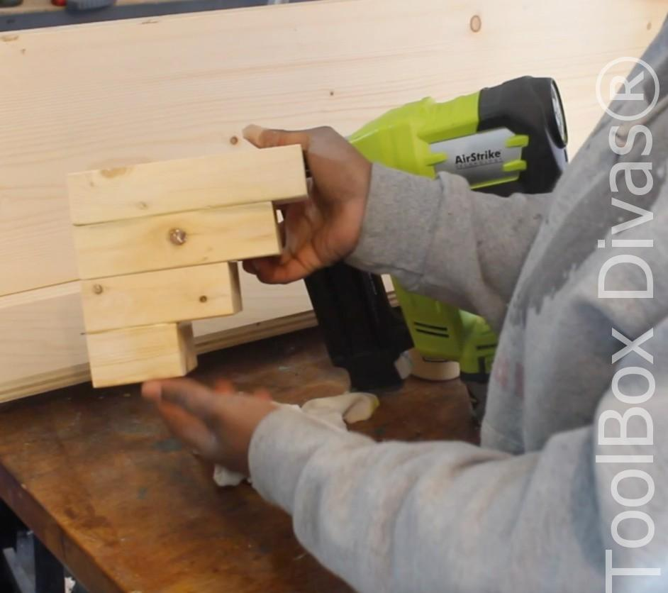How to build a Rustic Faux wood beam mantel or floating shelf - Toolbox Divas 15