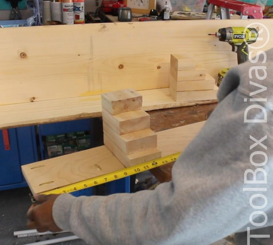 How to build a Rustic Faux wood beam mantel or floating shelf - Toolbox Divas 14