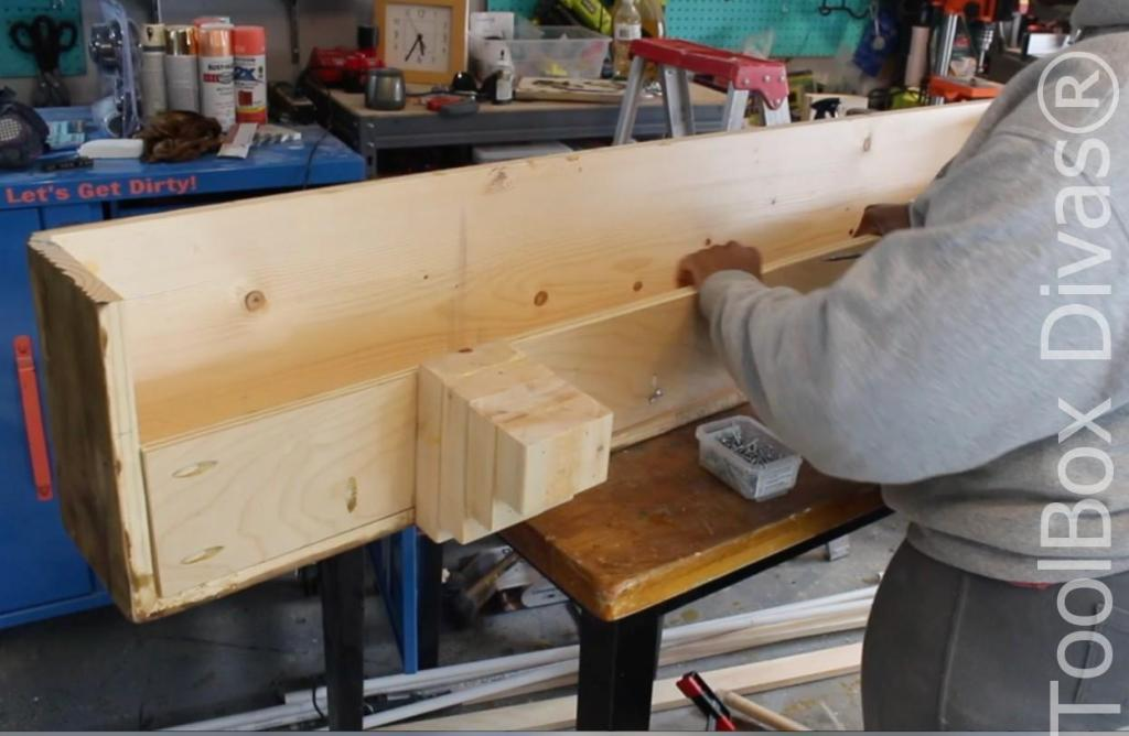How to build a Rustic Faux wood beam mantel or floating shelf - Toolbox Divas 10