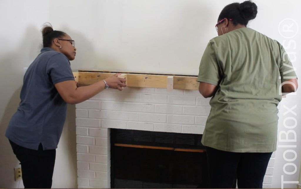 How to build a Rustic Faux wood beam mantel or floating shelf - Toolbox Divas 4