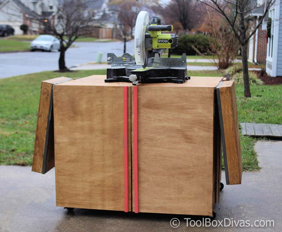 DIY Miter saw Cart and stand re-purpose old workbench @Toolboxdivas