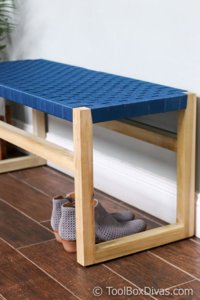 DIY How to Build a Modern Wooden bench with Woven Fabric Seat Toolbox Divas @toolboxdivas