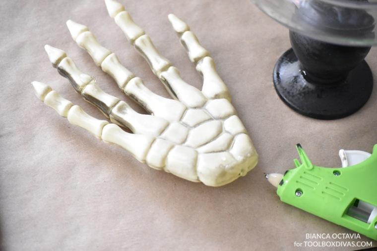 DIY Halloween Candy Dish - Dollar Tree Project @Toolboxdivas skeleton hands