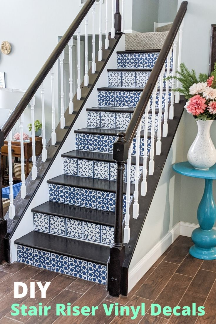 DIY Stair Riser Tile Decals Made with Cricut @toolboxdivas