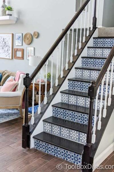 DIY Viynl Mosaic Tile Stair Riser Decals with Cricut - @ToolBoxDivas (6 of 94)