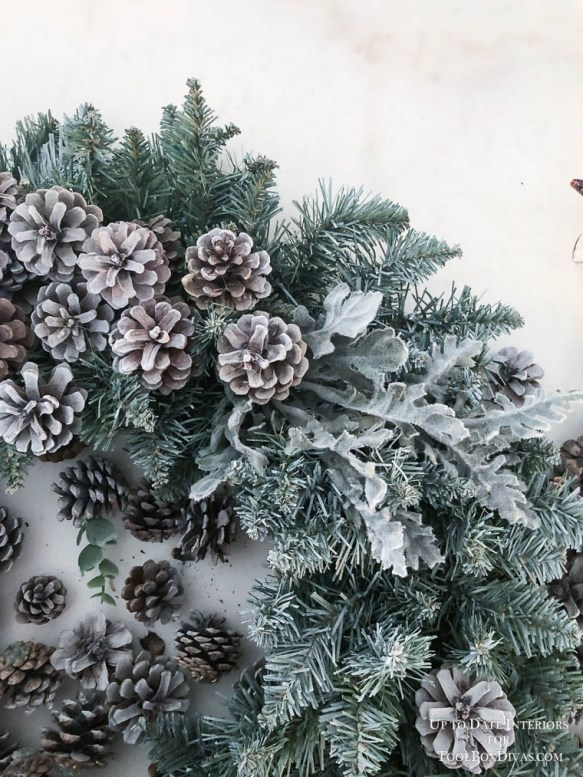Winter Wreath ideas recycle Christmas into the Winter Decorations @ToolBoxdivas pinecones