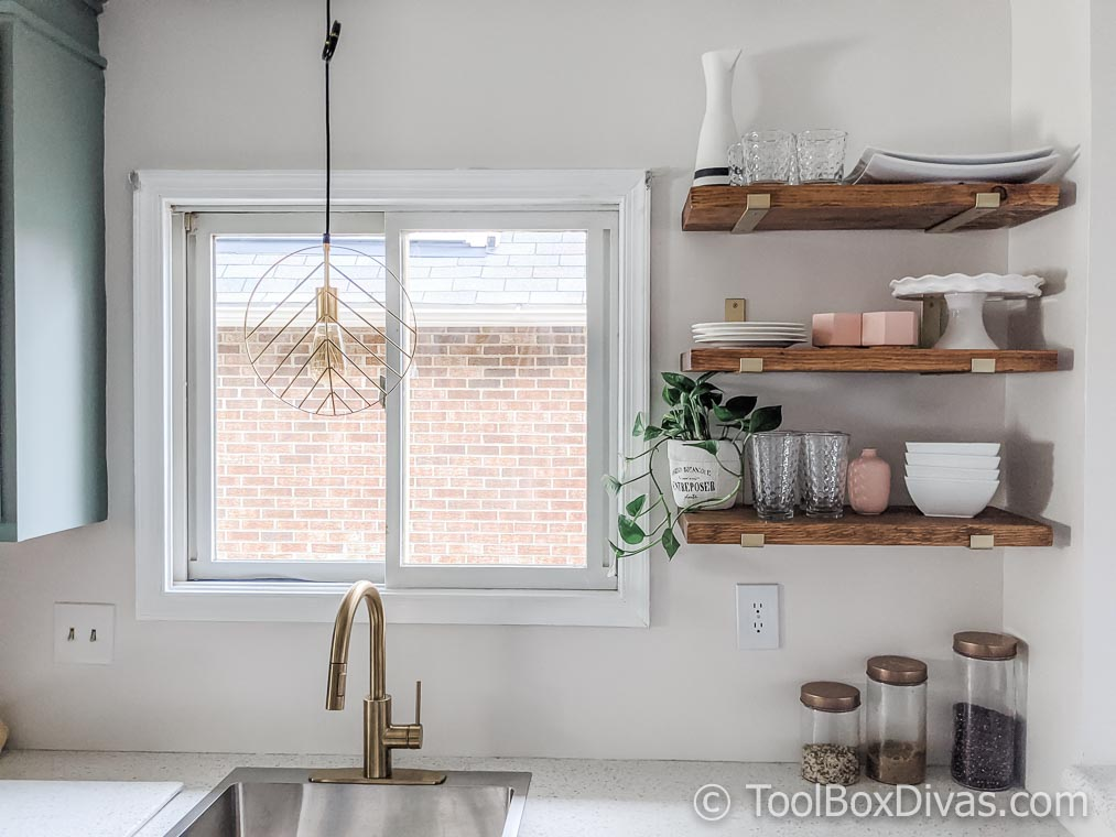 Open shelving in kitchen modern farmhouse @toolboxdivas