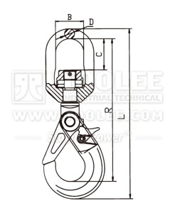 300 1209 Safety Hook Swivel Type With Self Locking Latch G80 New Style drawing