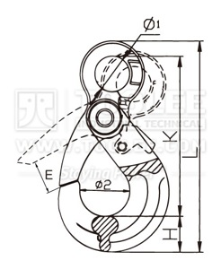 300 1210 Safety Hook Eye Type With Self Locking Latch G80 U S Type Drawing