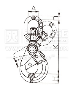 300 1212 Safety Hook Swivel Type With Self Locking Latch G80 U S Type drawing
