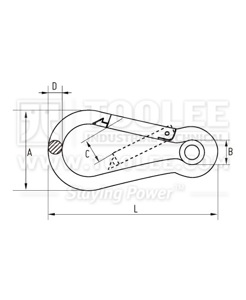 300 6102 Snap Hook With Eyelet Drawing