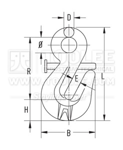 300 1275 Shortening Grab Eye Hook With Safety Locking Pin Drawing
