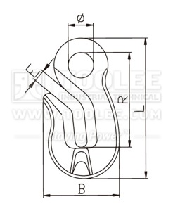 300 1239 Shortening Grab Eye Hook Special Type G80 drawing