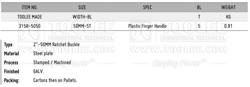 800 3158 2IN 50MM Ratchet Buckle Finger Handle DATA WM