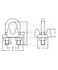 300 5596 Wire Rope Clips US Type Malleable Drawing