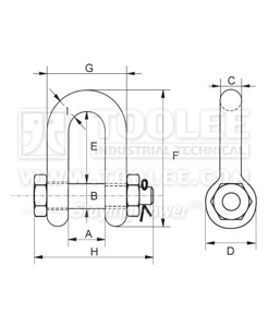 300 1104 Chain Shackle Bolt Type With Safety Pin  Nut G2150 6 1 drawing