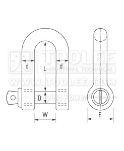 300 1112 Dee Shackle with Screw Collar Pin Grade S  6 1 drawing