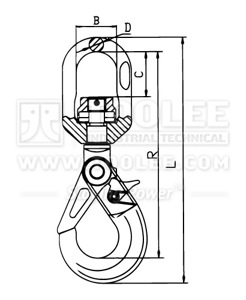 300 1272 Safety Hook Swivel Type With Self Locking Latch and Bearing G80 Drawing