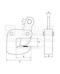 300 9200 LB Type Horizontal Plate Lifting Clamp DHQB Model Drawing