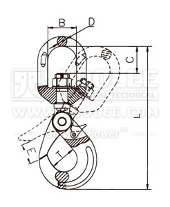 300 1206 Safety Hook Swivel Type With Self Locking Latch G80 Commercial drawing