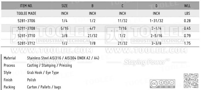 5281 Grab hook Eye Type Stainless Steel Data