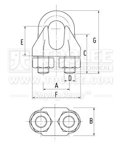 300 2106 Galv Malleable Wire Rope Clip Type B drawing