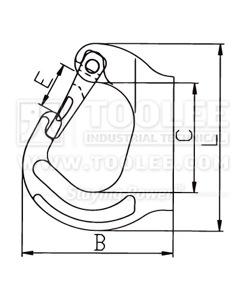 300 1250 Welded On Hook Regular Type G80 drawing