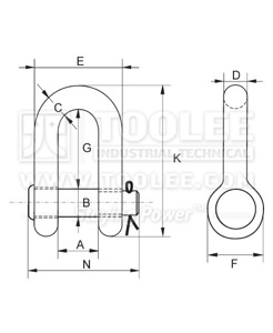 300 1105 DEE Shackle With Alloy Round Pin US SPEC G215 6 1 drawing
