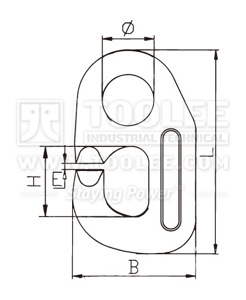 300 1401 DV Hook G80 Forged Viking Link drawing