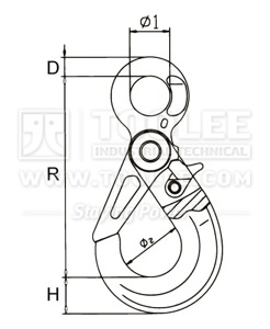 300 1207 Safety Hook Eye Type With Self Locking Latch G80 New Style drawing