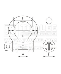300 1111 Bow Shackle with Screw Collar Pin Grade S  6 1 drawing