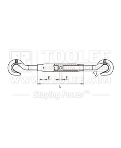 300 6333 Turnbuckle DIN1478 Hook Hook Drawing
