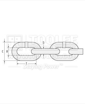 300 1052 Fishing Chain Grade 80 Short Link Drawing