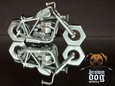 Brown Dog Welding Chopper with Reflection