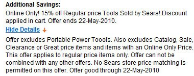 Sears 15 percent off sale on tools may 22nd