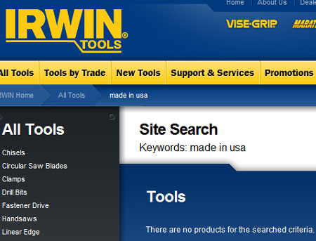 Irwin Website Made in USA Tools no Results Found