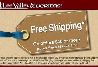 Lee Valley and Veritas Free Shipping March 2011