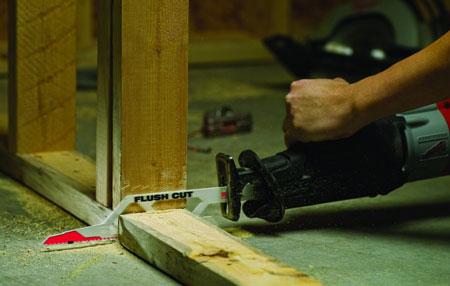 Milwaukee Flush-Cutting Sawzall Blade Cutting Wood Beam