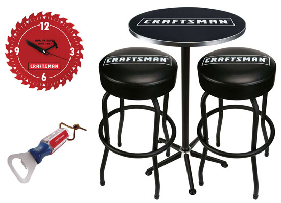 Craftsman Pub Table Stools Clock and Bottle Opener