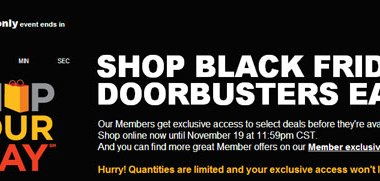 Sears Black Friday Doorbusters Early Cyber Monday Sale 2012