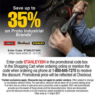 MSC Save on Stanley Proto Tools Feb 2013