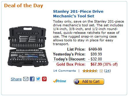 Stanley Mechanics Tool Set Amazon Deal of the Day 3-12-13