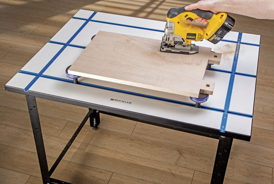 Rockler T-Track Tabletop with Bench Cookie Spacers and Jigsaw