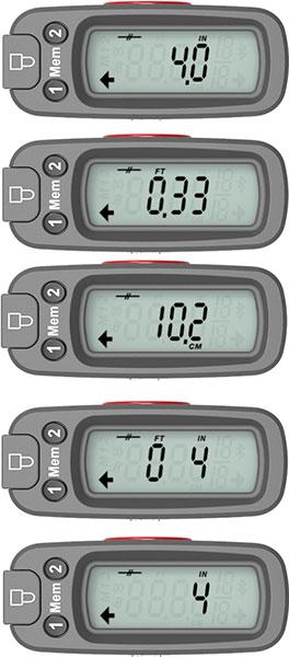 ETape16 Measurement Scales: Inches (Decimal), Feet (Decimal), Metric (Decimal), Feet and Inches (Fractional), Inches (Fractional)