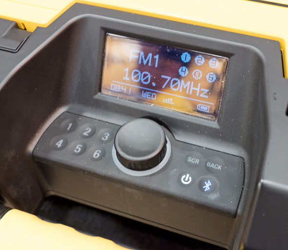 Dewalt ToughSystem Bluetooth Radio Controls and Display
