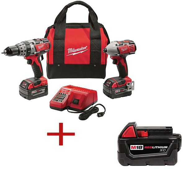 Milwaukee 2697 M18 Drill Impact Driver and free Battery Combo Kit