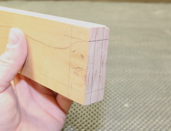 Tenon all laid out on a piece of cherry