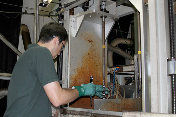 WoodOwl Drill Bit Production Step 5 Loading Induction Hardening Machine