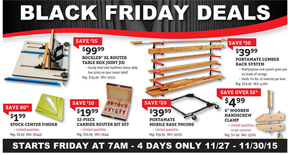 Rockler Black Friday 2015 Tool Deals Page 2